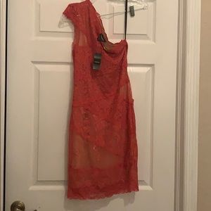 BEBE pink coral one shoulder dress Medium